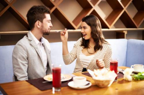Couple sharing food on a date