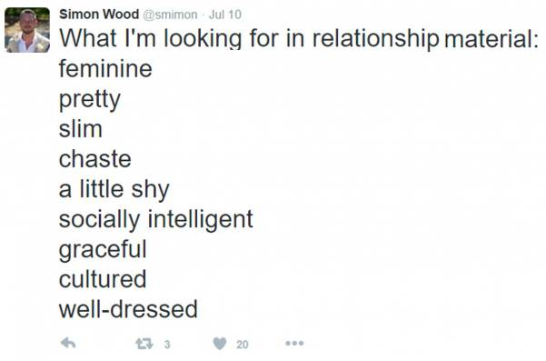 Tweet about men looking for shy girls